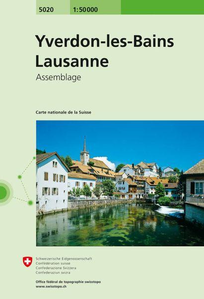 5020 Yverdon-les-Bains - Lausanne topographische Wanderkarte Schweiz 1:50.000