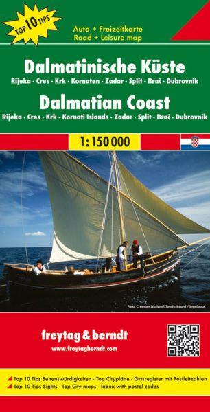 Dalmatinische Küste - Straßenkarte 1:150.000, Freytag und Berndt
