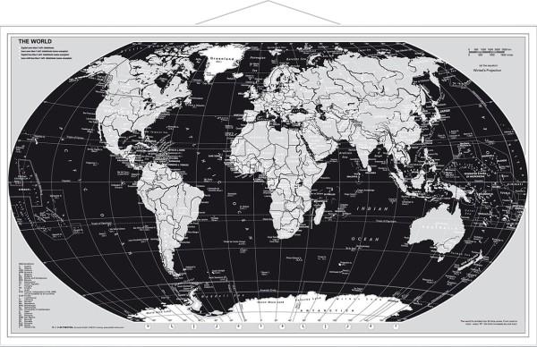 Weltkarte Silberedition Poster mit Metallleisten vom Stiefel Verlag 95x62 cm