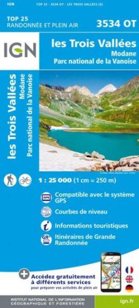 IGN 3534 OT Les trois Vallees, Modane, Frankreich 1:25.000 Wanderkarte