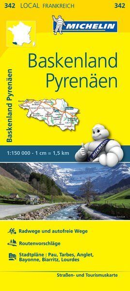 Michelin local 342 Baskenland, Pyrenäen Straßenkarte 1:150.000