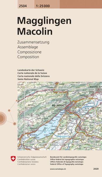 2504 Magglingen / Macolin topographische Wanderkarte Schweiz 1:25.000
