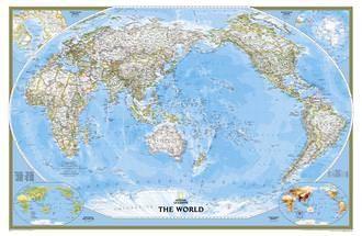 NGS Poster Weltkarte politisch Pazifik Ansicht Großformat 185 cm x 122 cm