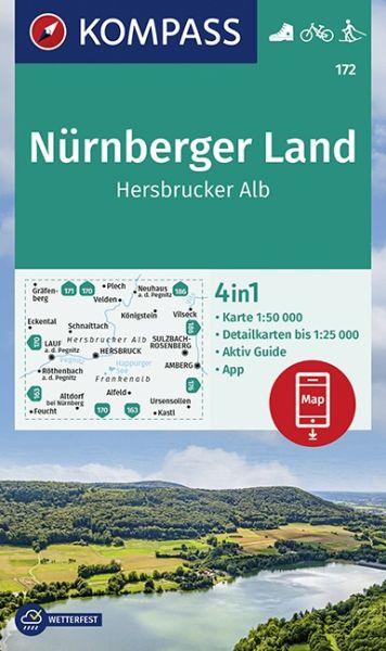 Kompass Karte 172, Nürnberger Land 1:50.000, Wandern, Rad fahren