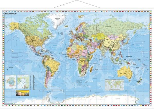 Weltkarte politisch großes Poster auf englisch mit Metallleisten Stiefel Verlag 137x89 cm