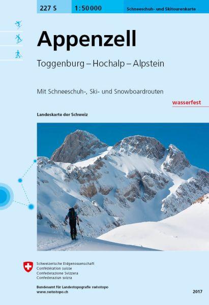 227S Appenzell topografische Skitourenkarte 1:50.000 wasserfest
