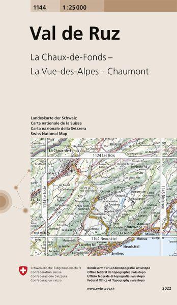 1144 Val de Ruz topographische Wanderkarte Schweiz 1:25.000