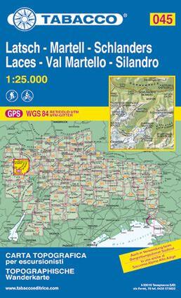 Tabacco 045 Laces / Latsch - Val Martello - Schlanders Wanderkarte 1:25.000