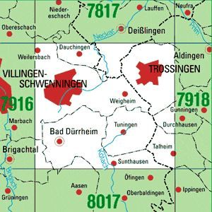 7917 VILLINGEN-SCHWENNINGEN OST topographische Karte 1:25.000 Baden-Württemberg, TK25