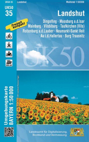 UK50-35 Landshut und Umgebung Rad- und Wanderkarte 1:50.000 - Umgebungskarte Bayern