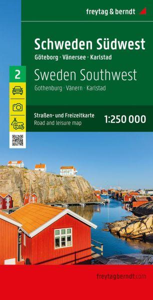Schweden Südwest - Göteborg Vänersee, Karlstad, Straßenkarte 1:250.000, Freytag und Berndt