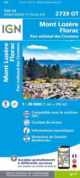 IGN 2739 OT Mont Lozere, Florac, Cevennes, Frankreich Wanderkarte 1:25.000