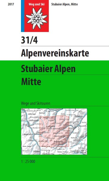 Alpenvereinskarte 31/4 Stubaier Alpen Mitte, Ski- und Wanderkarte 1:25.000