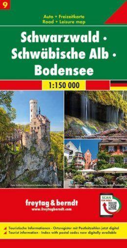 Schwarzwald, Schwäbische Alb, Bodensee Autokarte im Maßstab 1:150.000 - Freytag&Berndt Karte 9