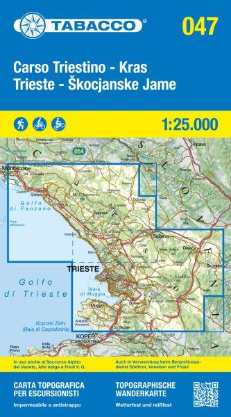 Tabacco 047 Carso Triestino e Isontino Wanderkarte 1:25.000