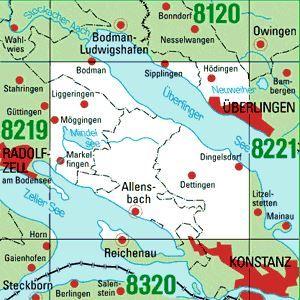 8220 ÜBERLINGEN WEST topographische Karte 1:25.000 Baden-Württemberg, TK25