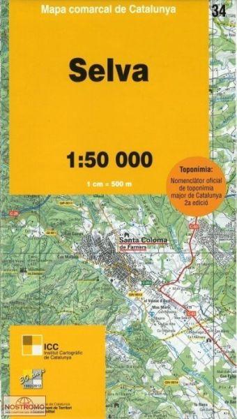Selva, Katalonien topographische Karte, Spanien 1:50.000, ICC 34