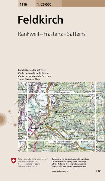1116 Feldkirch topographische Wanderkarte Schweiz 1:25.000