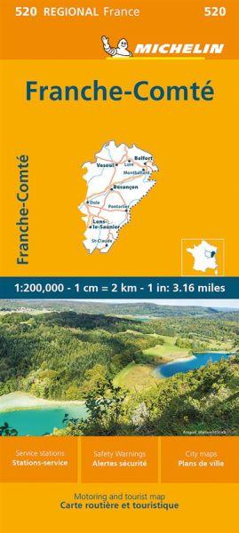 Michelin regional 520 Franche-Comté Straßenkarte 1:200.000