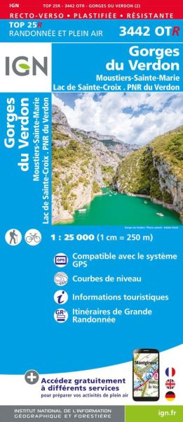 IGN 3442 OTR Gorges du Verdon/Moustiers-Ste-Marie/Lac Ste-Croix, reiß- und wasserfeste Wanderkarte
