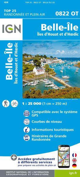 IGN 0822 OT Belle-Ile, Iles d'Houat, Frankreich Wanderkarte 1:25.000