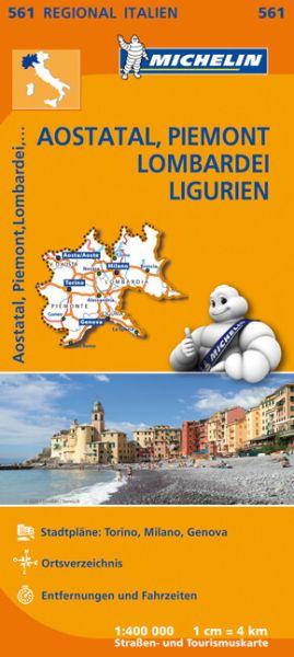 Michelin 561 Aostatal, Piemont, Lombardei, Ligurien; Straßenkarte