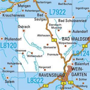 L8122 Weingarten topographische Karte 1:50.000 Baden-Württemberg, TK50