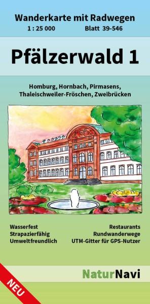 Pfälzerwald West Bl. 1 in 1:25.000 Wanderkarte mit Radwegen – NaturNavi Bl. 39-546