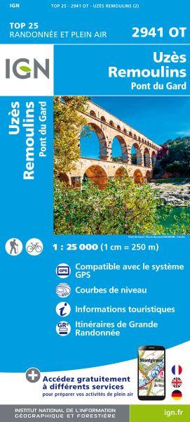 IGN 2941 OT Uzès / Remoulins / Pont du Gard, Frankreich Wanderkarte 1:25.000