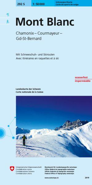 292 S Mont Blanc Chamonix topographische Skitourenkarte 1:50.000