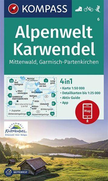 Kompass Karte 6, Alpenwelt, Karwendel 1:50.000, Wandern, Rad fahren