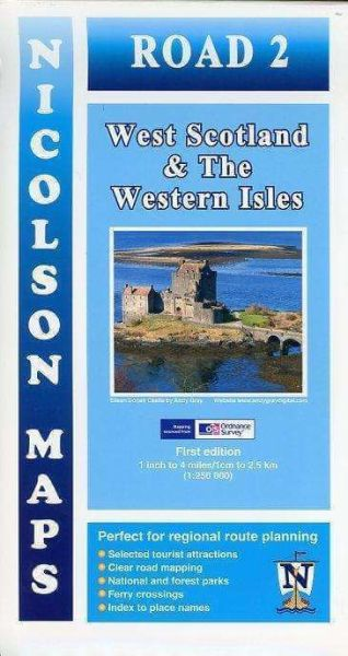 West Scotland & The Western Isles, touristische Straßenkarte 1:250.000