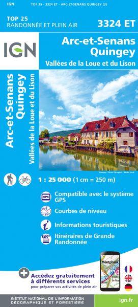 IGN 3324 ET Arc-et-Senans / Quingey / Vallées de La Loue et du Lison, Wanderkarte 1:25.000