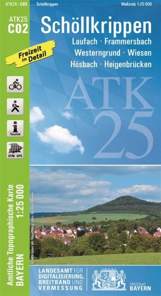 ATK25 C02 Schöllkrippen, 1:25.000 amtliche topographische Karte mit Wander- und Radwegen, Bayern