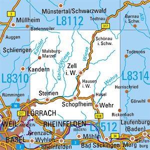 L8312 Schopfheim topographische Karte 1:50.000 Baden-Württemberg, TK50