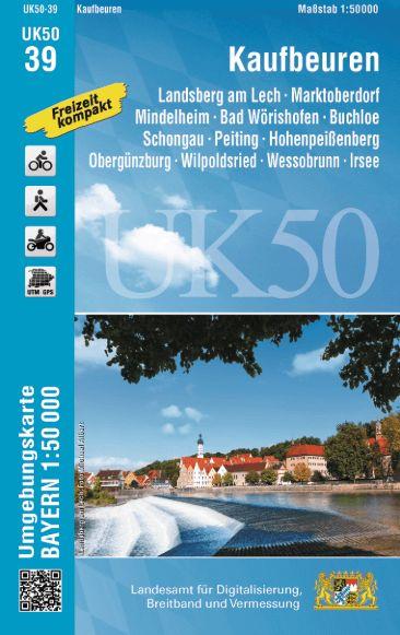UK50-39 Kaufbeuren und Umgebung Rad- und Wanderkarte 1:50.000 - Umgebungskarte Bayern