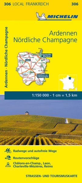 Michelin local 306 Ardennen, Nördliche Champagne Straßenkarte 1:150.000