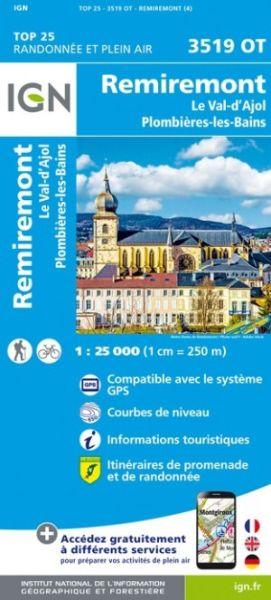 IGN 3519 OT Remiremont, Frankreich topographische Wanderkarte 1:25.000