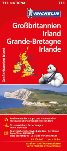 Michelin 713 Großbritannien, Irland Straßenkarte 1:1.000.000