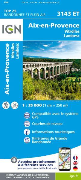 IGN 3143 ET Aix-en-Provence, Vitrolles, Frankreich Wanderkarte 1:25.000