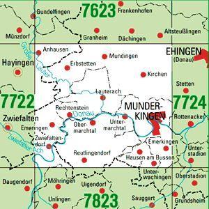 7723 MUNDERKINGEN topographische Karte 1:25.000 Baden-Württemberg, TK25