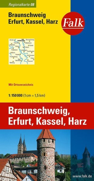 Regionalkarte 08 Braunschweig, Erfurt, Kassel, Harz 1:150.000, Falk Verlag