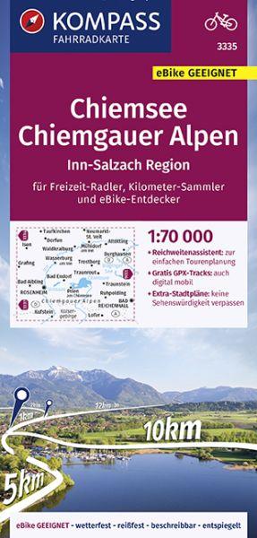 Kompass Fahrradkarte 3335 Chiemsee, Chiemgauer Alpen 1:70.000