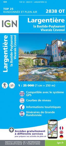 IGN 2838 OT Largentiere, Bastide-Puylaurent, Frankreich Wanderkarte 1:25.000