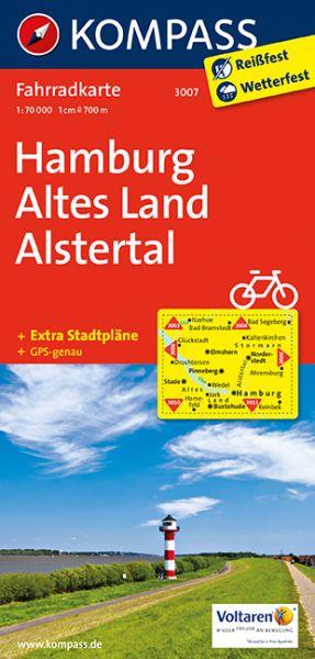 Kompass Fahrradkarte Blatt 3007, Hamburg, Altes Land, Alstertal 1:70.000
