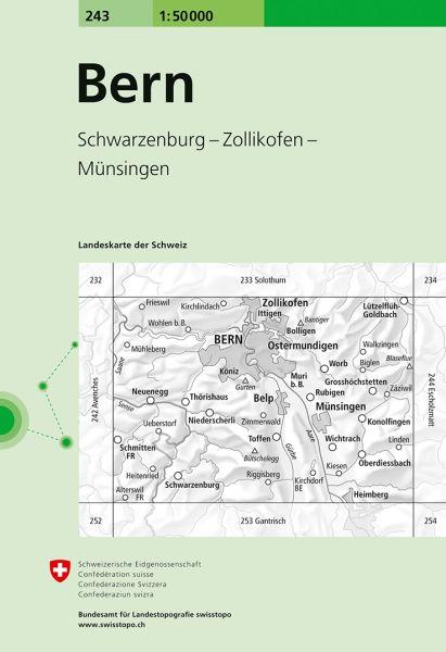 243 Bern topographische Wanderkarte Schweiz 1:50.000