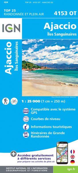 IGN 4153 OT Ajaccio - Iles Sanguinaires, Korsika Wanderkarte 1:25.000