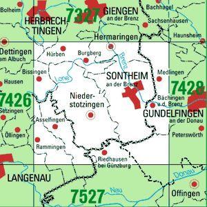 7427 SONTHEIM A.D.BRENZ topographische Karte 1:25.000 Baden-Württemberg, TK25
