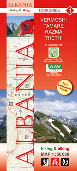 1 Vermoshi - Tamare - Razma - Theti: Albanien Wander- und Radwanderkarte 1:50.000