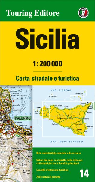 Sizilien Straßenkarte 1:200.000, TCI 14 Sicilia